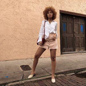🆕 Zara Sz lg Pink Faux Suede Skirt